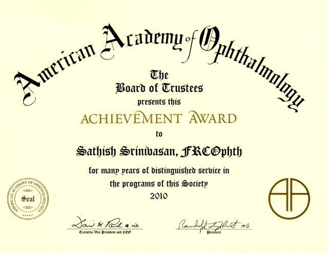 American Academy Ophthalmology Achievement Award lg
