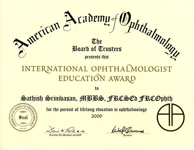 American Academy Ophthalmology Education Award lg