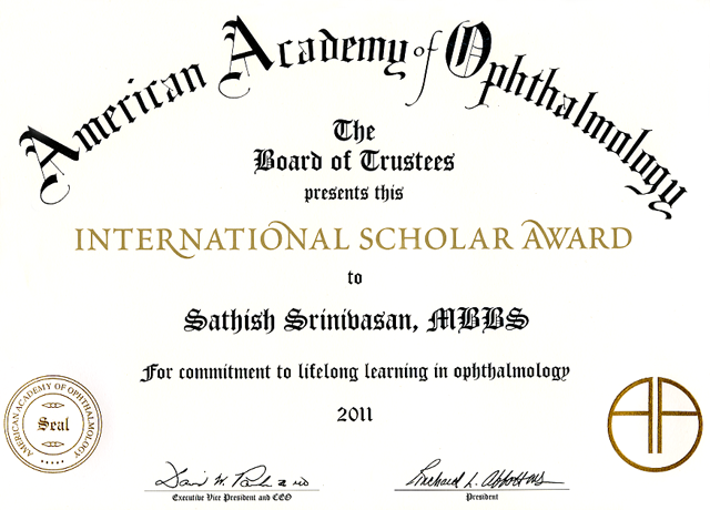American Academy Ophthalmology Scholar Award lg